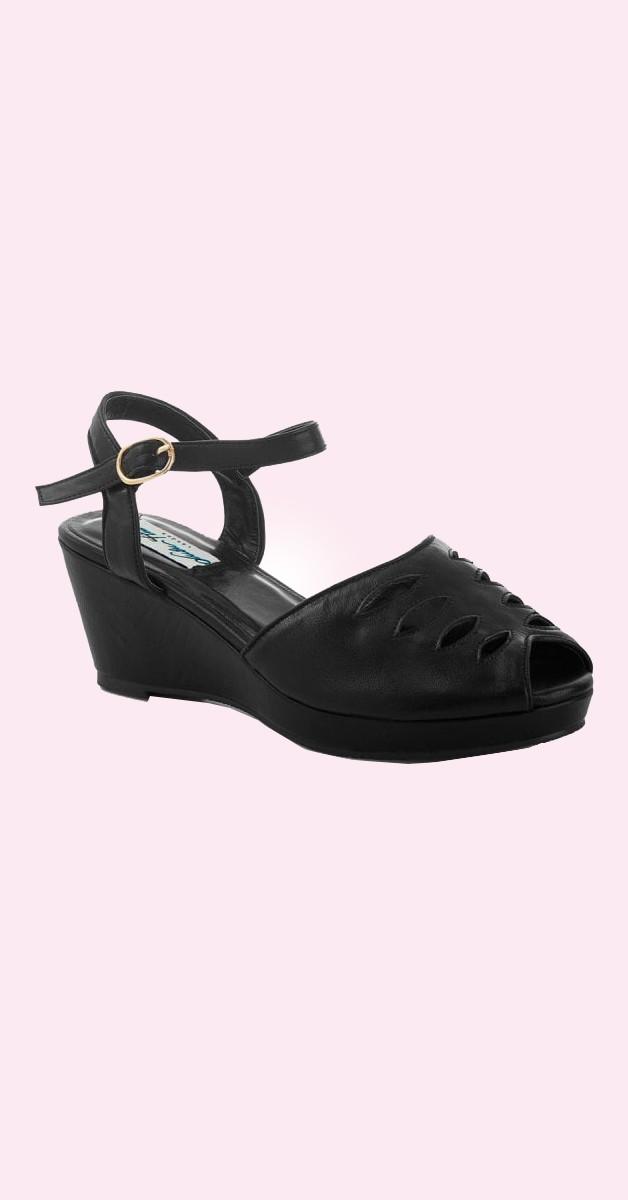 Vintage Stil  Schuhe Lily Wedge - Schwarz