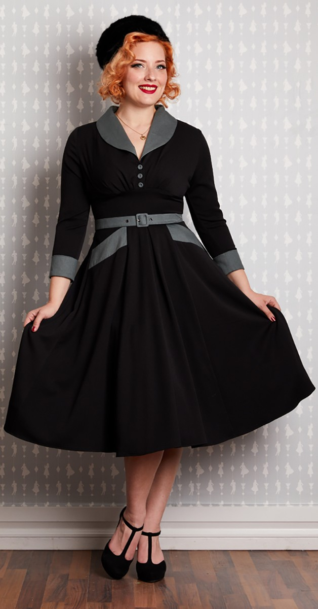 Vintage Swing Kleid - Rosaleen-Lou - Schwarz