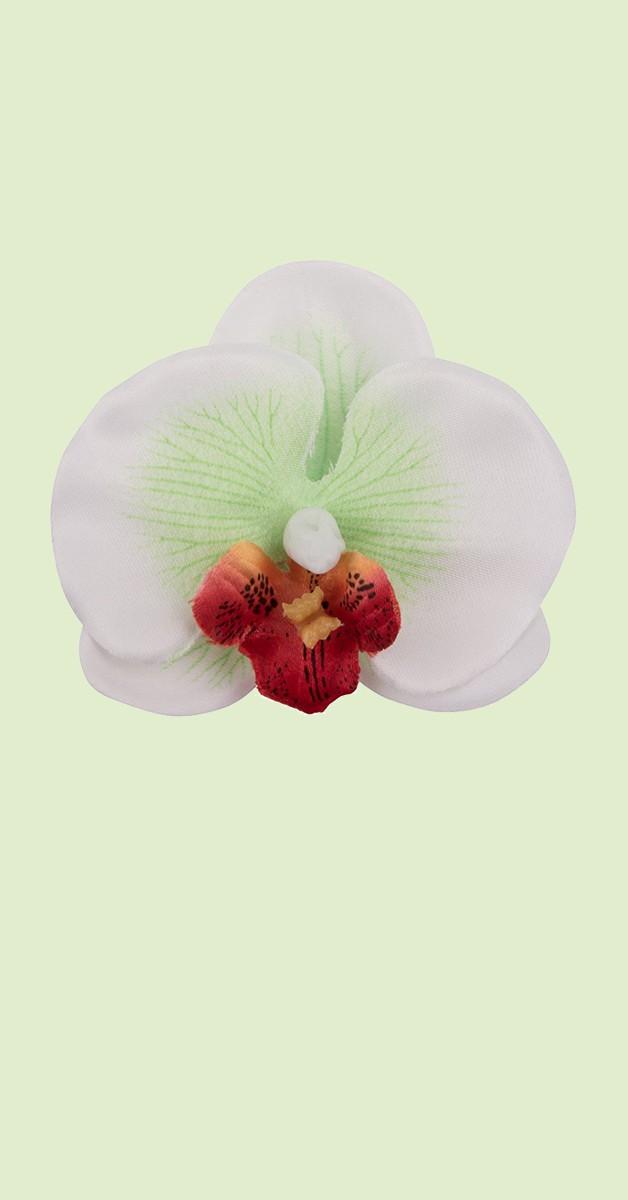 Vintage Accessoires - Pin Up Haarclip Orchidee - Weiß/Grün