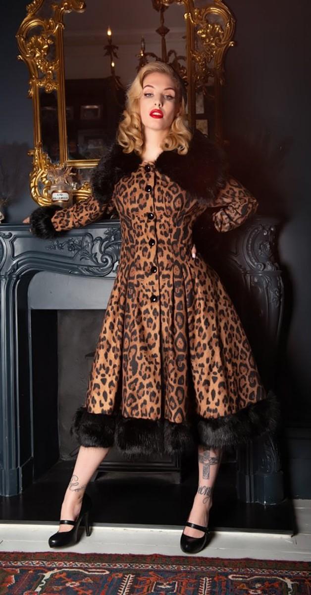 Vintage Stil Bekleidung - Pearl Leopard - Mantel