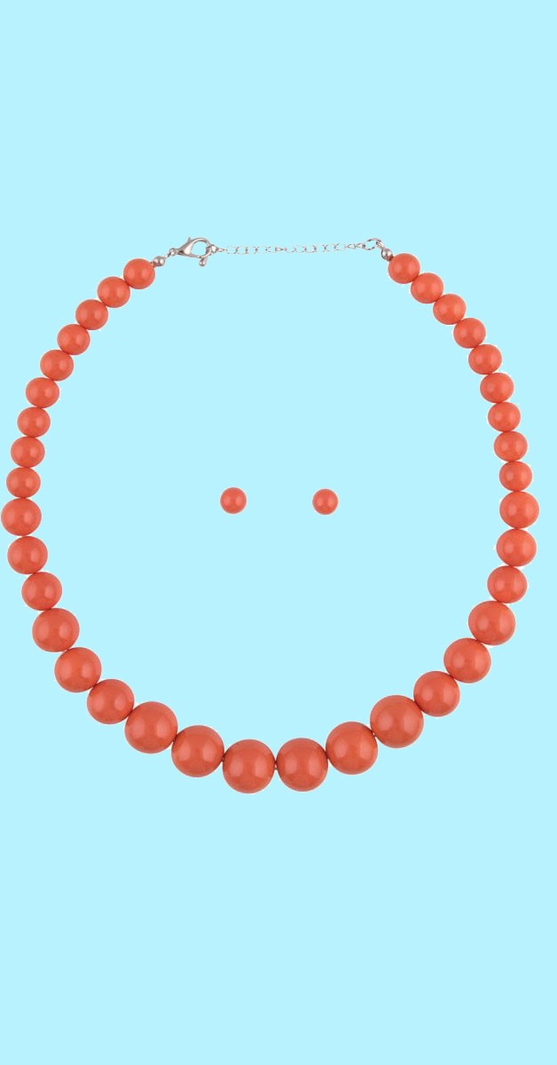 Vintage Schmuckset - Natalie Bead Necklace Set - Orange