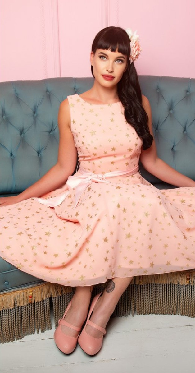 Vintage Stil Swing Kleid - Mainline Vanessa Stars Swing Kleid