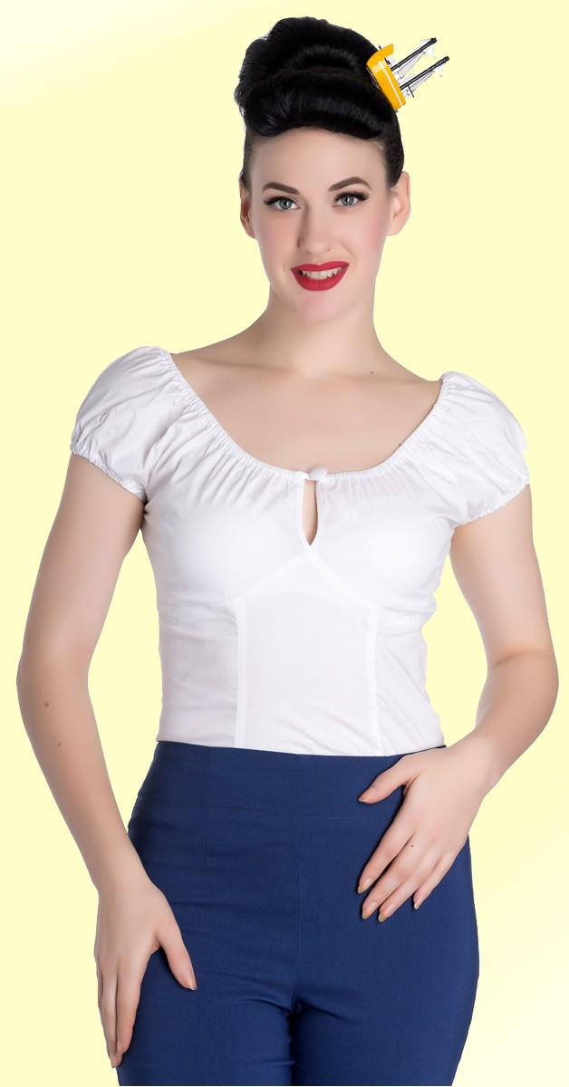Vintage Stil Bekleidung - Melissa Top - Weiß