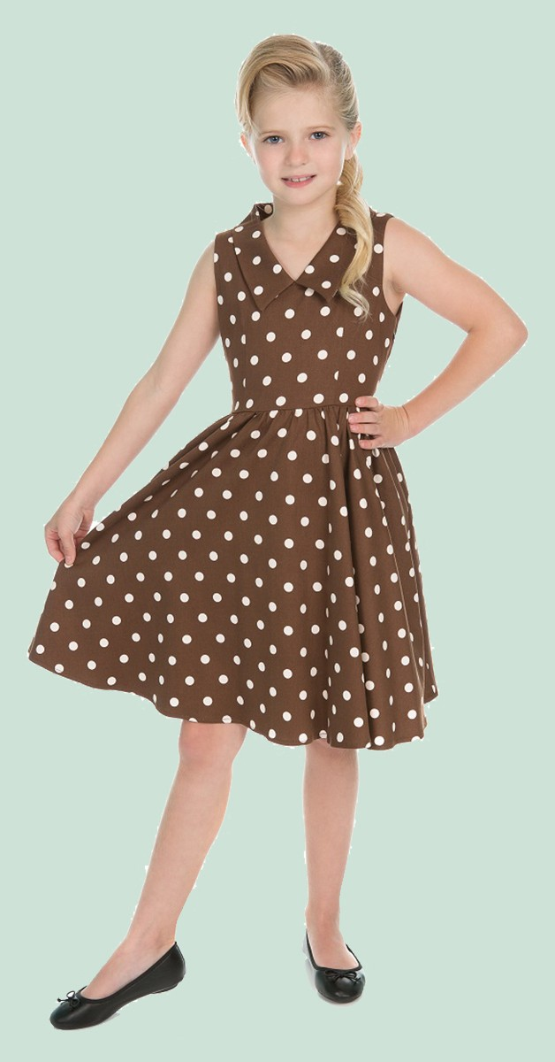 50s Kinderkleidung - Kleid -Ravishing Chocolate Polka Dot Swing Dress - Braun/Weiß
