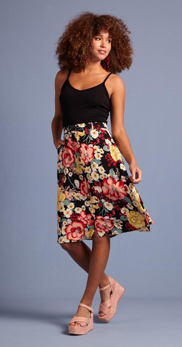 Vintage Mode - Rock - Serena Button Skirt Caroca