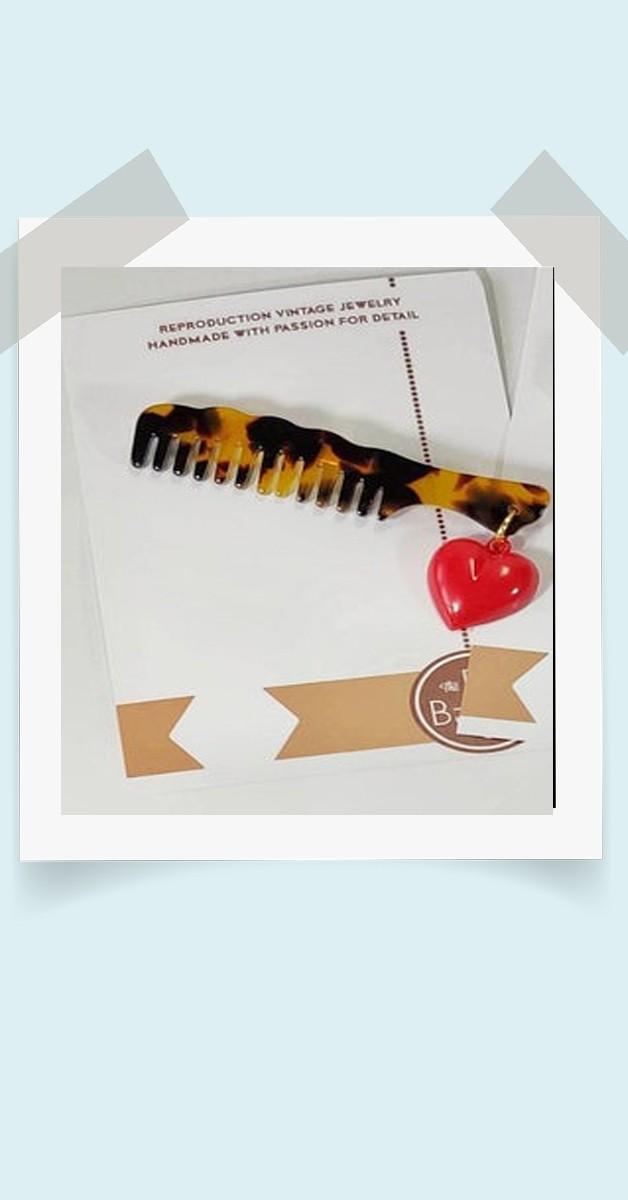 40er Stil Schmuck  - Friseur Kamm Brosche  mit Herz -Schildkröte