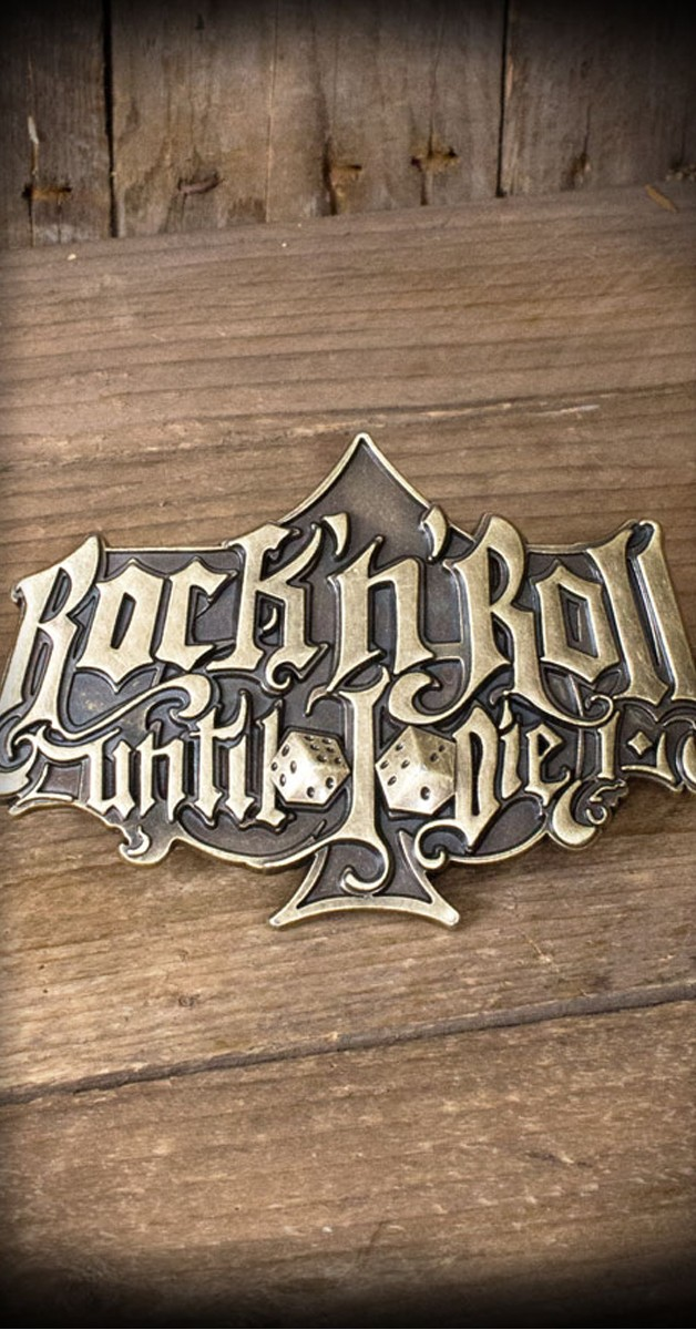 Rockabilly Accessoires - Gürtelschnalle - Rock'n'Roll Until I Die - Special Edition