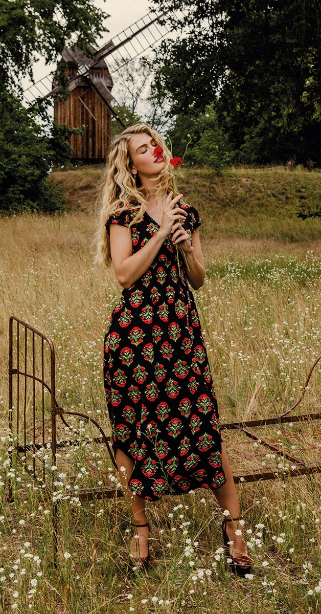 Retro Stil Mode - Sommerkleid sunflowers field - Laatste Lieve