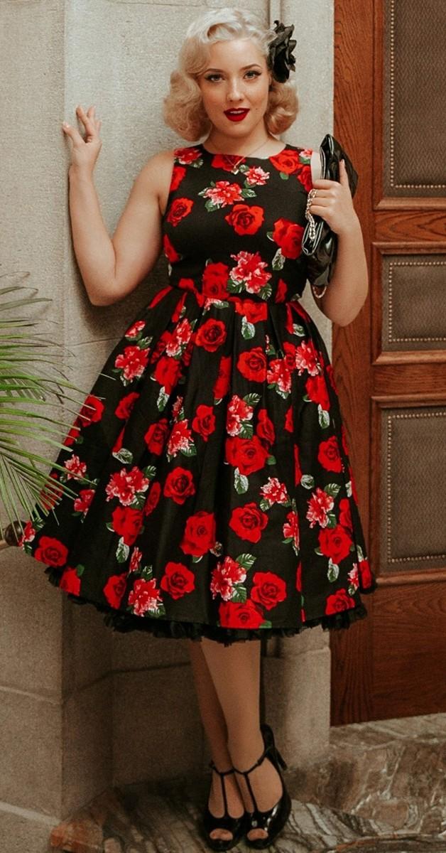 Vintage Stil 50s Swing Kleid - Audrey Hepburn Stil Kleid in Schwarz mit Rosen