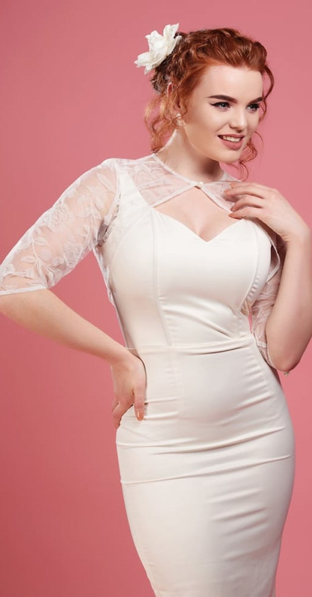 Vintage Kleidung - Belle Brocade Rose Bolero -  Cremeweiß