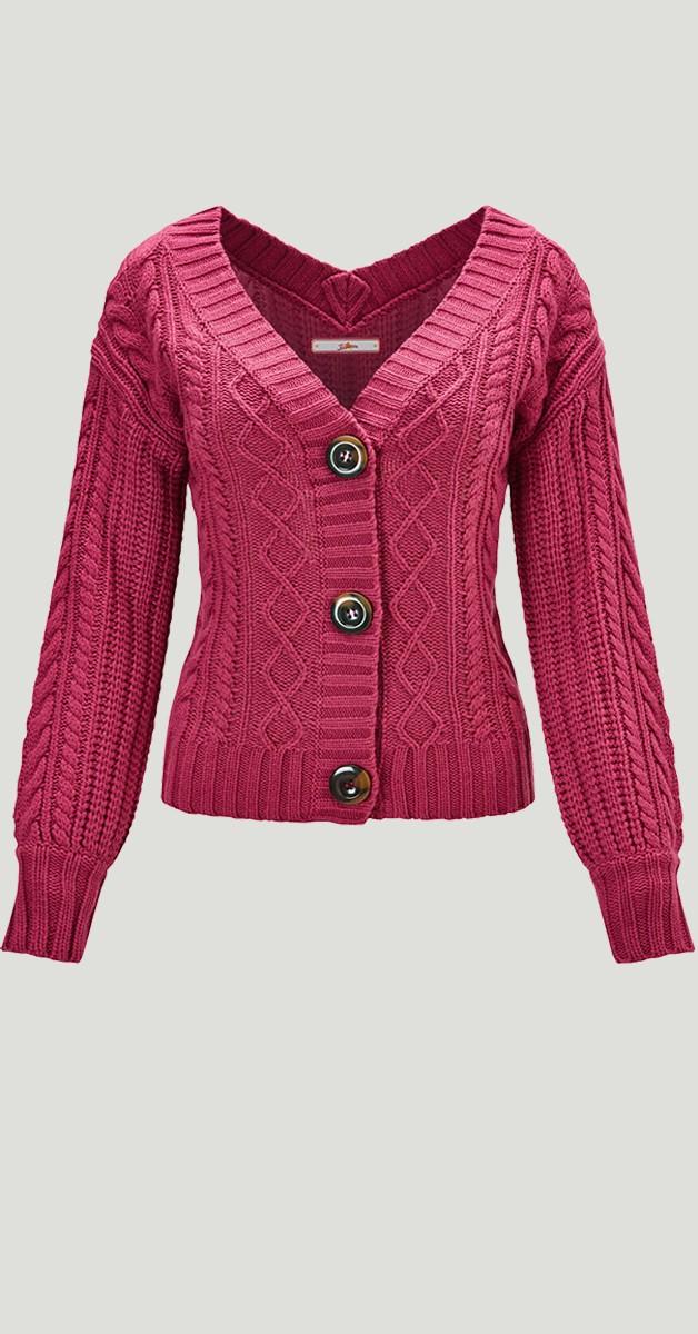 Retro Stil Bekleidung Weste - Cable Knit Cardigan