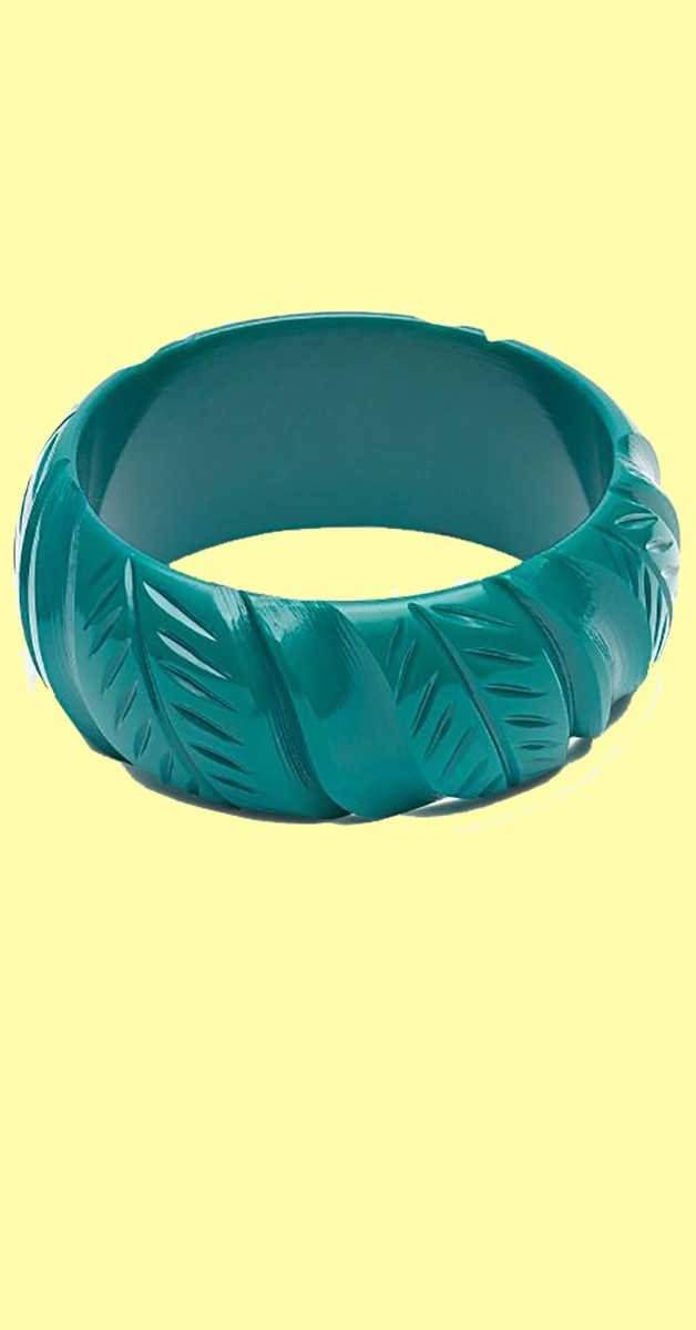 Vintage Accessoires - Armreife - Wide -Jade Green Heavy Carve Bangle