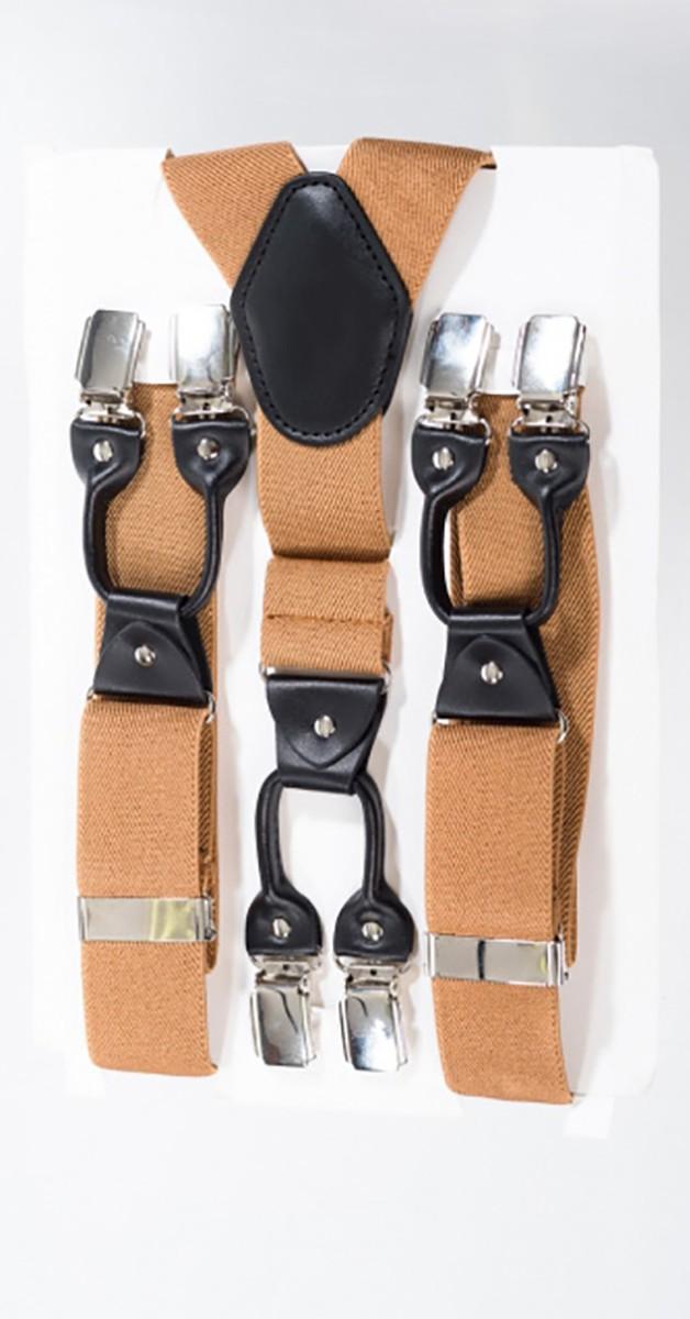 Rockabilly Accessoires - Hosenträger Mit Clip - Kamelbraun    l Braun