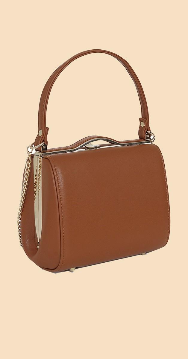 Vintage Retro Handtasche - Carrie  Plain Bag - Braun