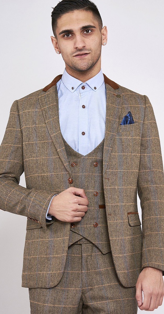Vintage Bekleidung - Hellbrauner Heritage Tweed Check Blazer