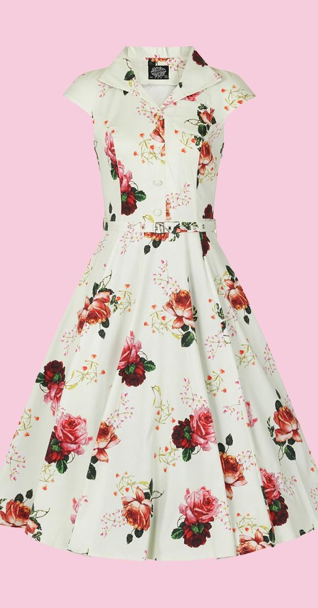 Vintage Stil Swing Kleid - Delilah Swing Dress - Cremefarben