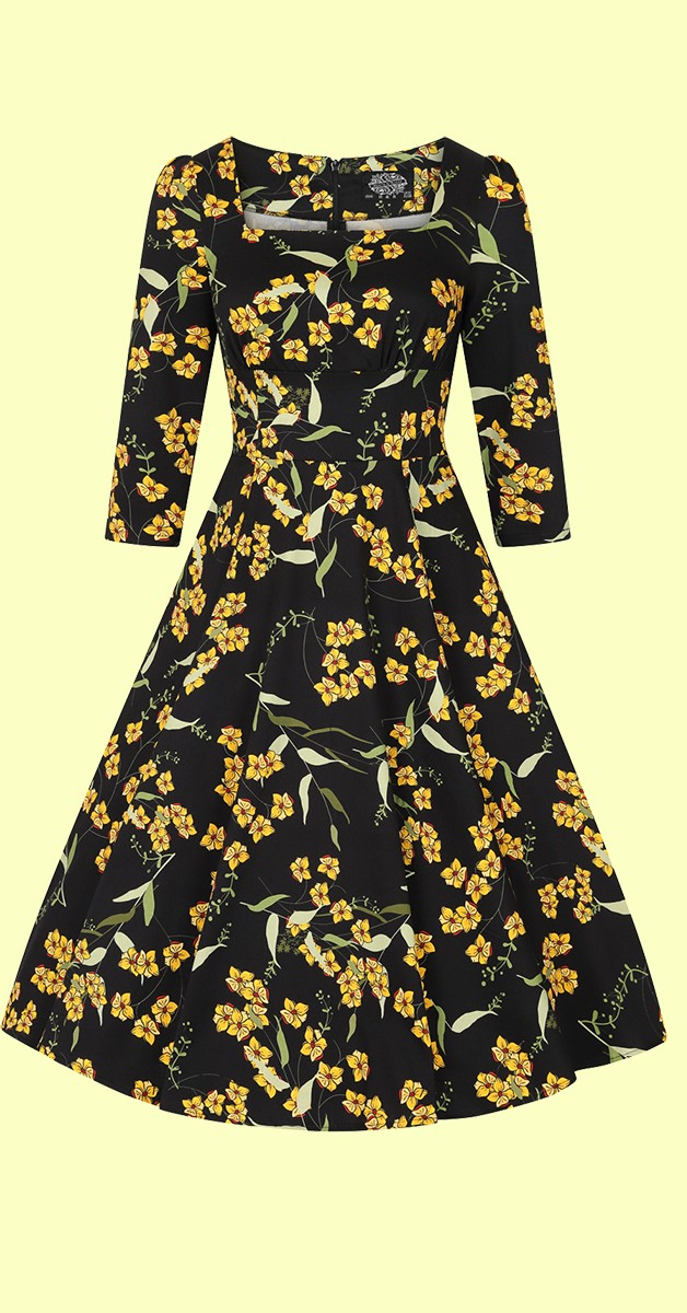 Vintage Stil Swing Kleid - 50s Florence Floral Swing Kleid