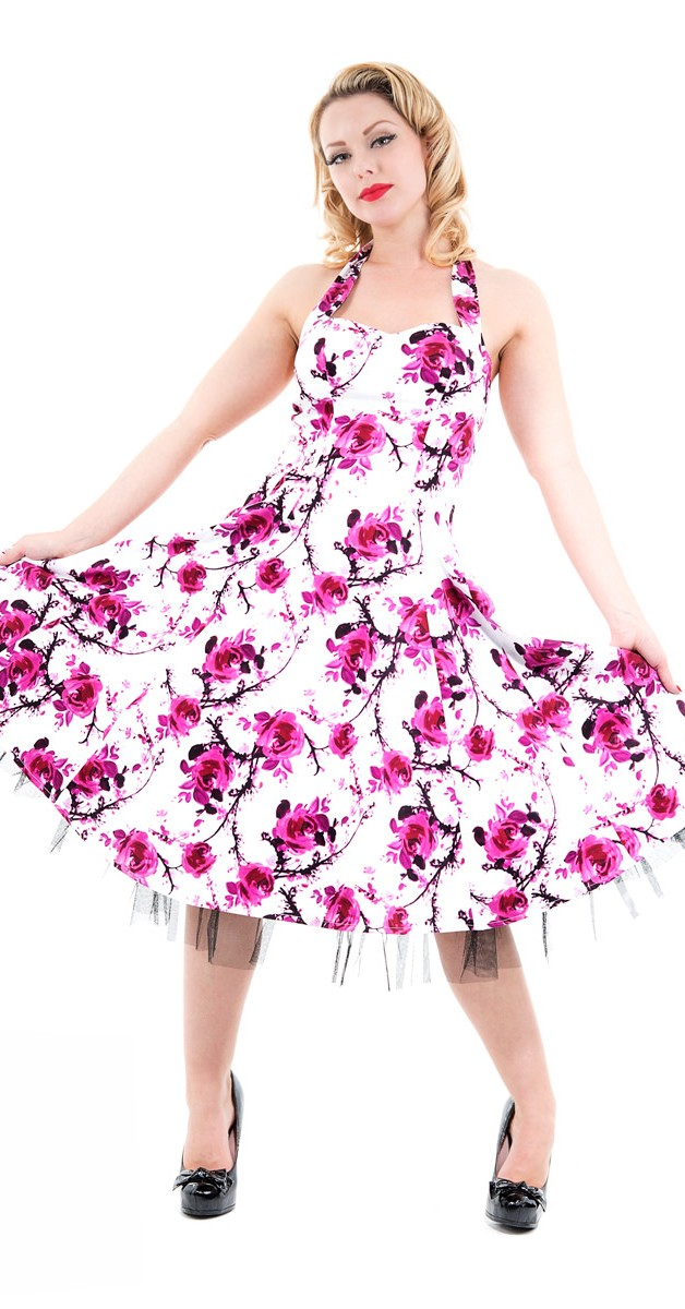 Vintage Stil Swing Kleid - Sakura Blossom Swing Dress - Weiß