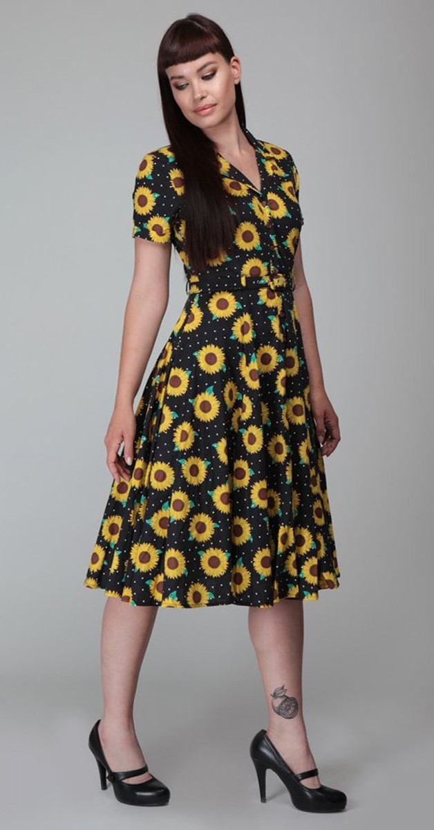 Vintage  Mode -  Collectif Mainline Caterina Sunflower Swing Kleid