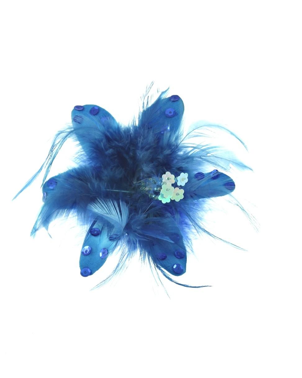 Pin Up Haarclip/Brosche - Blume mit Pailletten und Federn - Blau