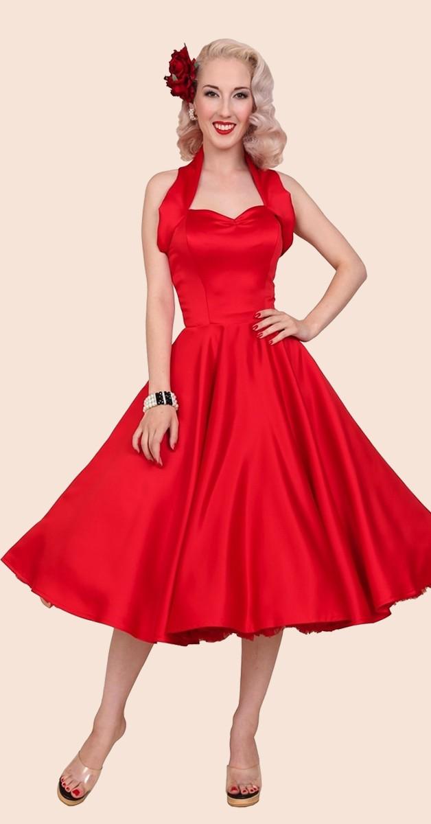 1950s Halterneck Red Duchess Dress