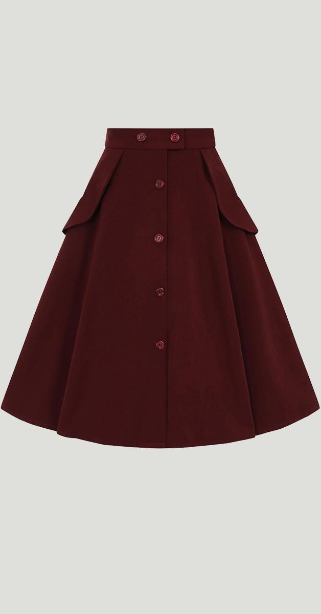 Vintage Mode -Tellerrock - Carlie Skirt - Burgundy