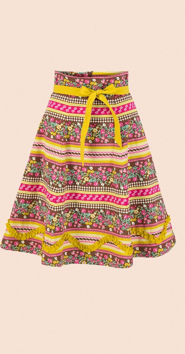 Vintage Mode - Rock - splendourous circle skirt - Garden Glory