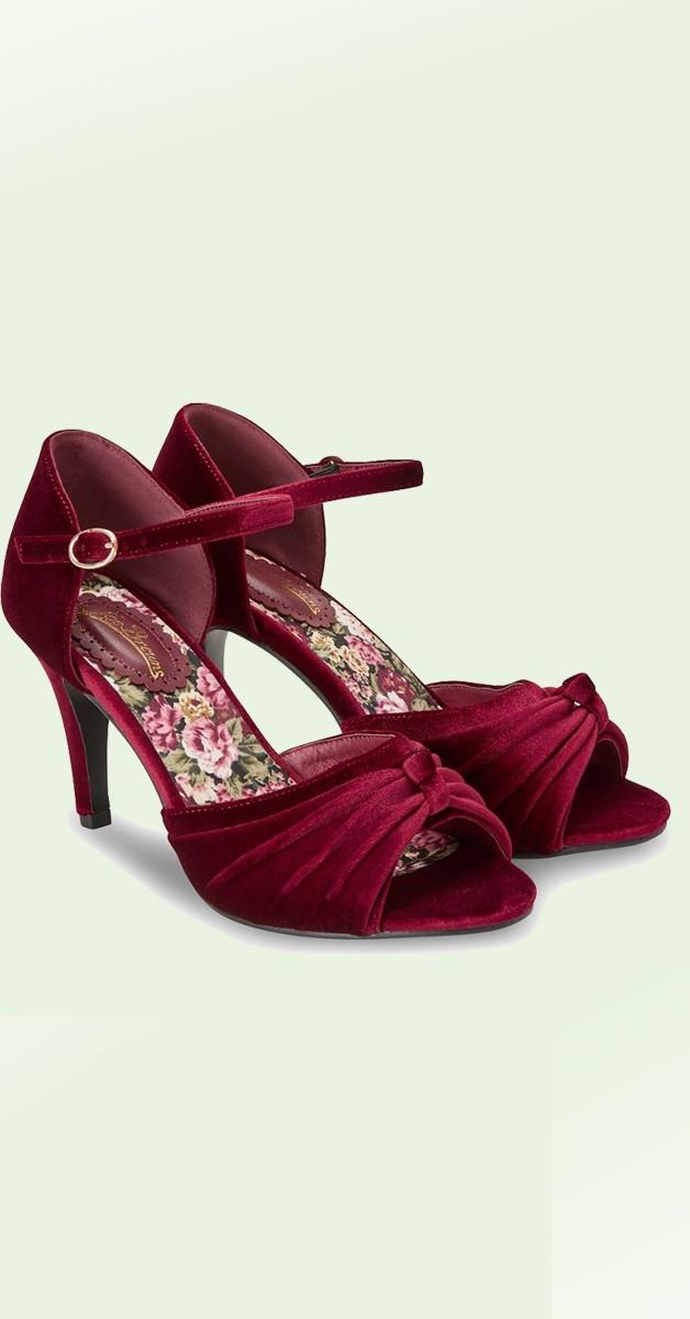Vintage Stil Schuhe - Fabulous And Feminine Velvet Shoes - Weinrot