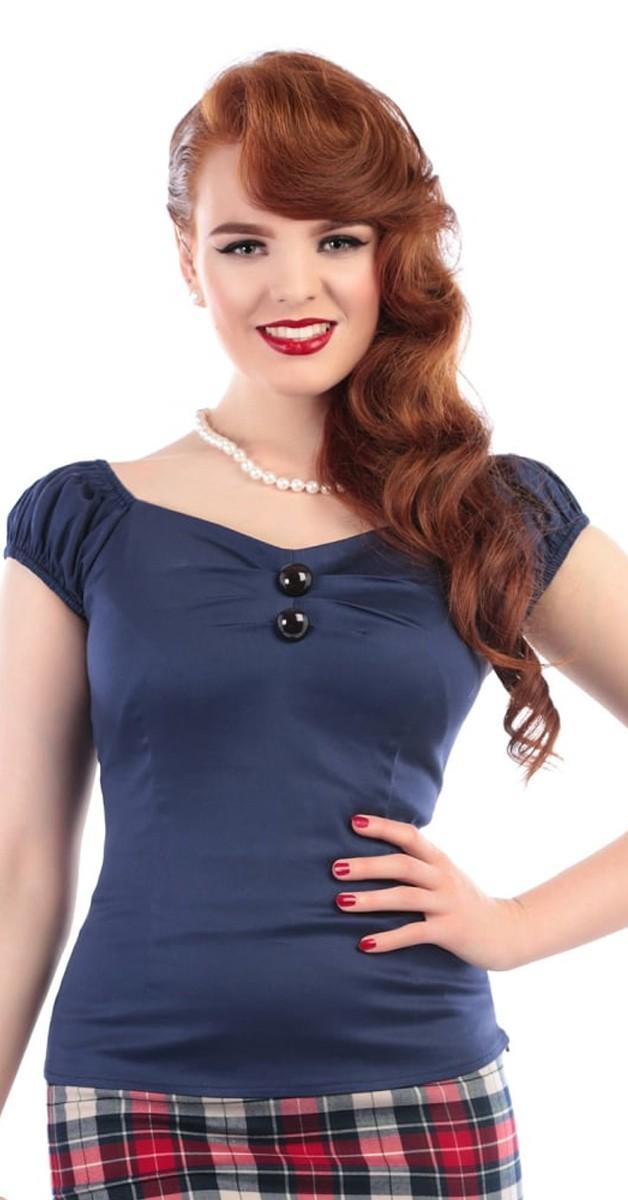 Vintage Stil Bekleidung - Dolores Top - Navy