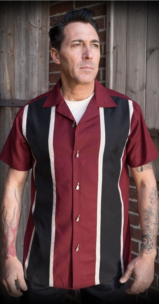 Rockabilly Mode - Classic Shirt Two Stripes - Dunkelrot/Schwarz/Beige