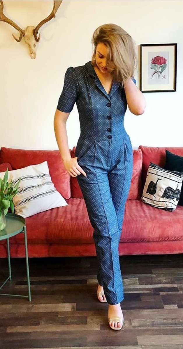 Vintage Kleidung - Overall - Classic Jumpsuit - Denim Dots Light Blue