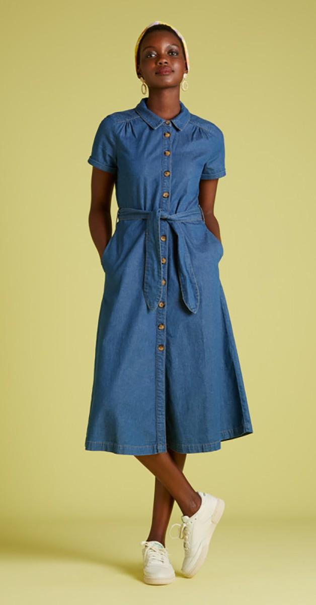 Vintage Stil 60's Mode Denim Kleid - Olive Dress Chambray