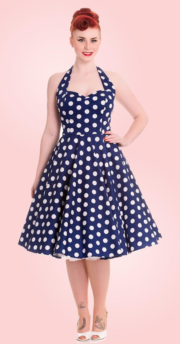 Vintage Stil Kleid - Mariam - Navy Mit Punkten