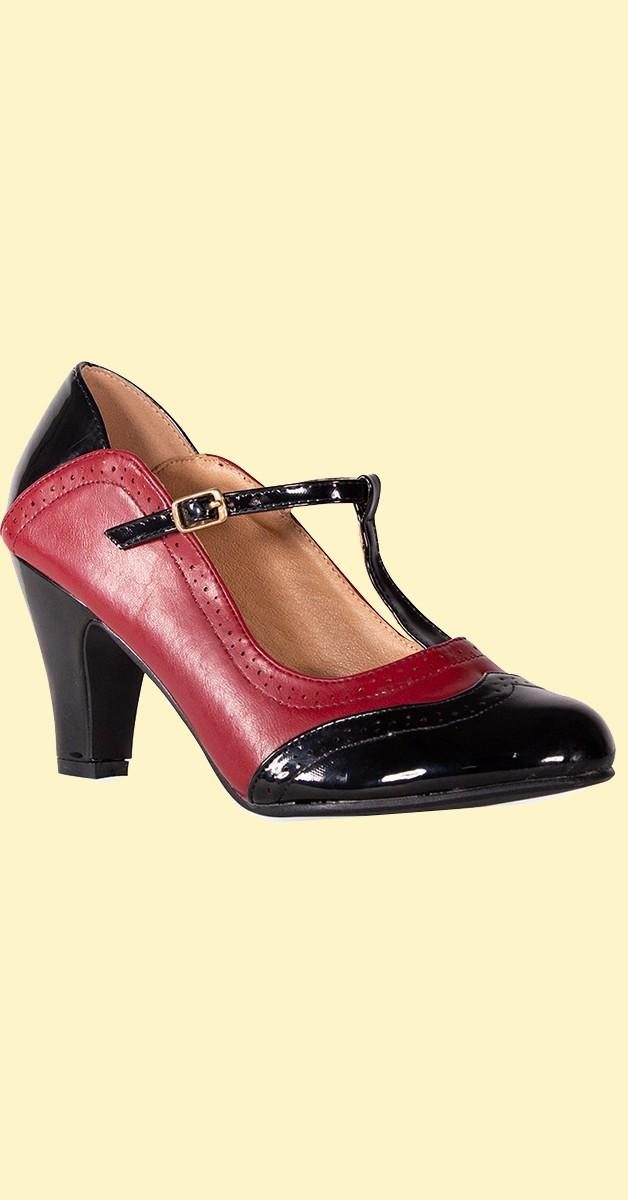 Vintage Stil Schuhe - Diva Blues Heel - Schwarz & Burgunderrot