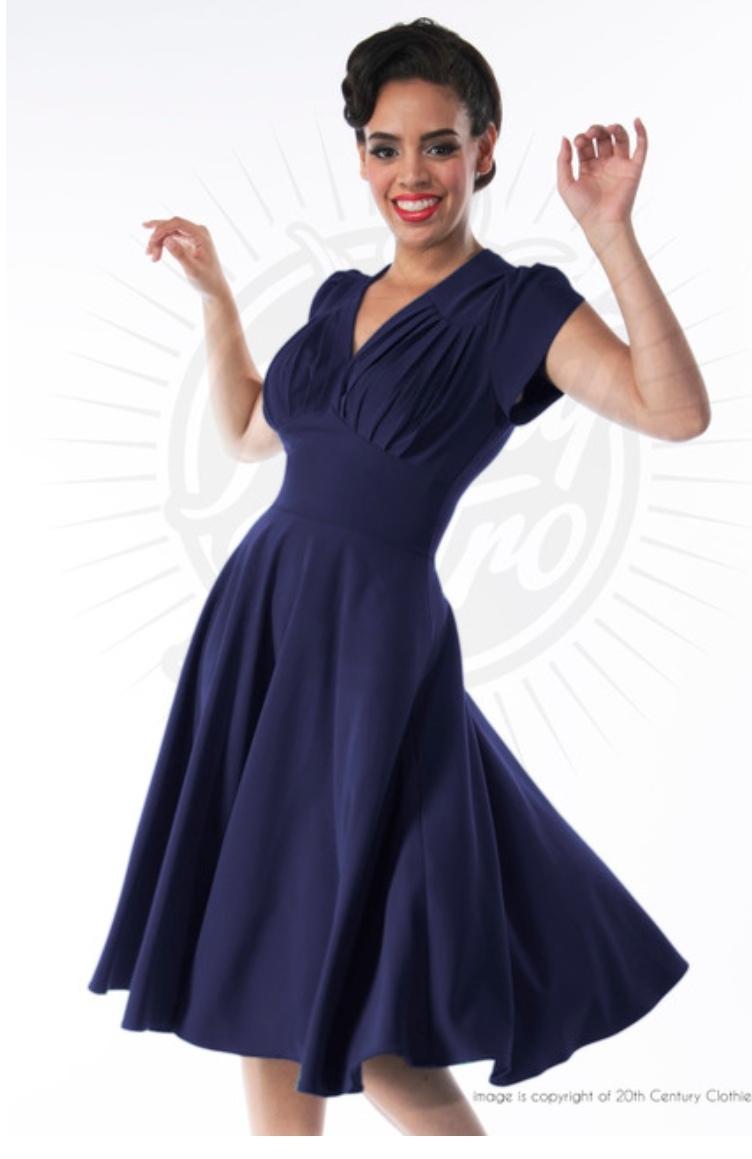 Retro 50s Swing Dress in Navy