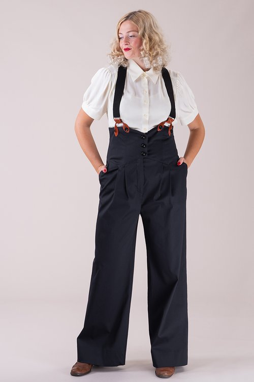 The miss fancy pants slacks black rib weave