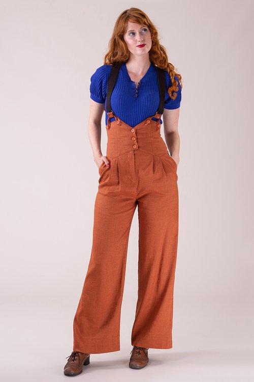The miss fancy pants slacks Cinnamon linen