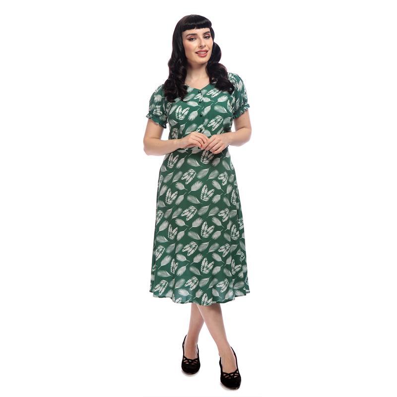 Misty Leafy Green Swing Dress