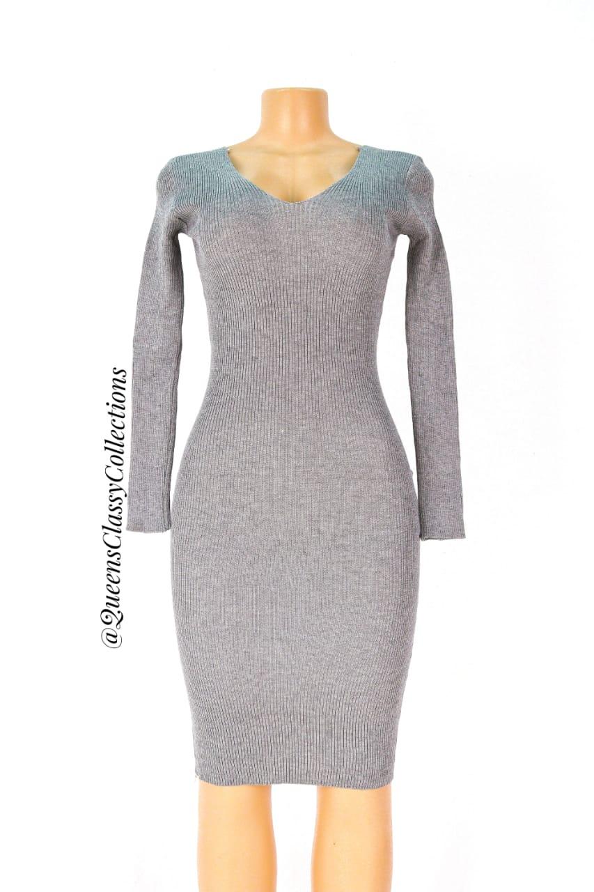 v-neck mini sweater dress