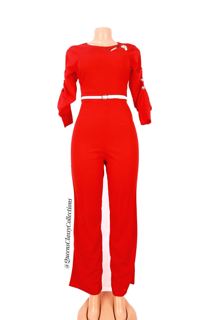 Tributton Sleeved Jumpsuit