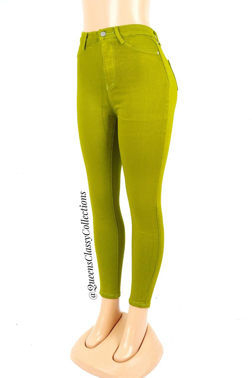 Silver button body shaping jeans