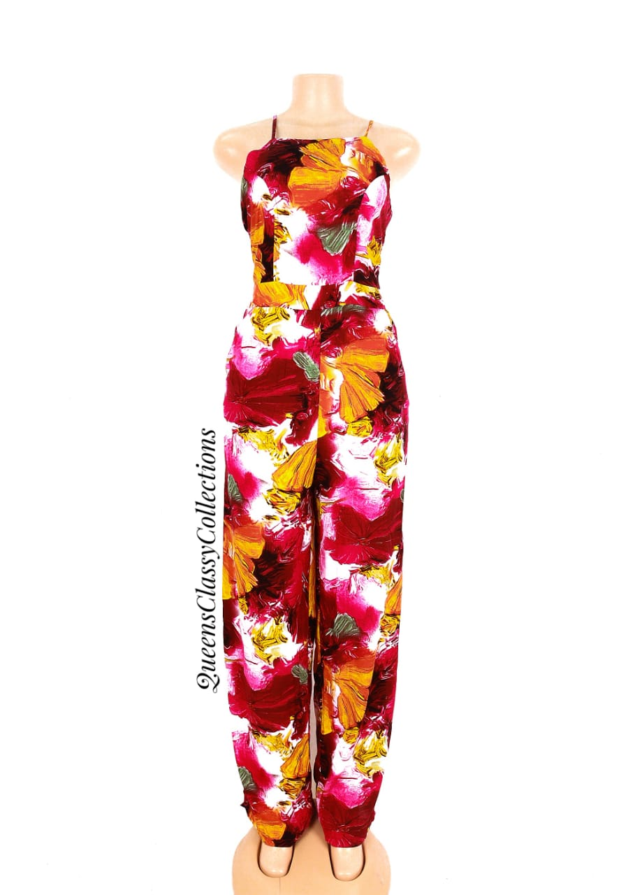Floral bare back jumpsuit