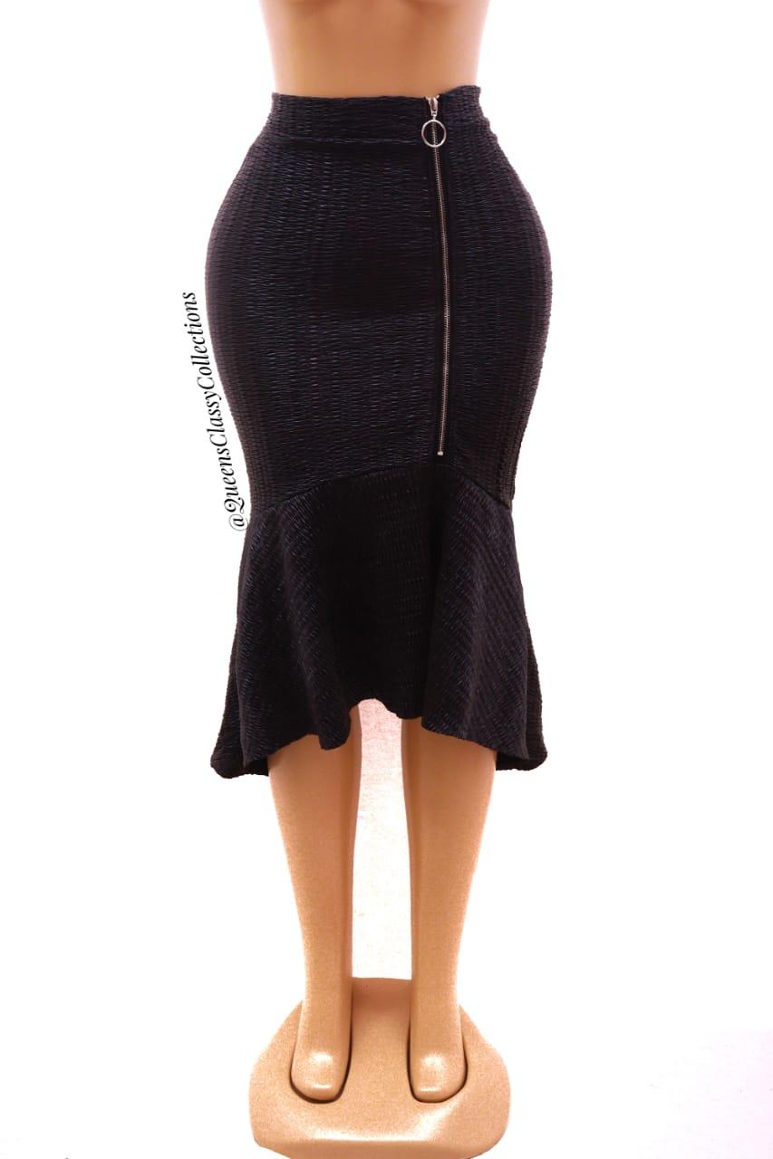 Zipper Leather Skirt