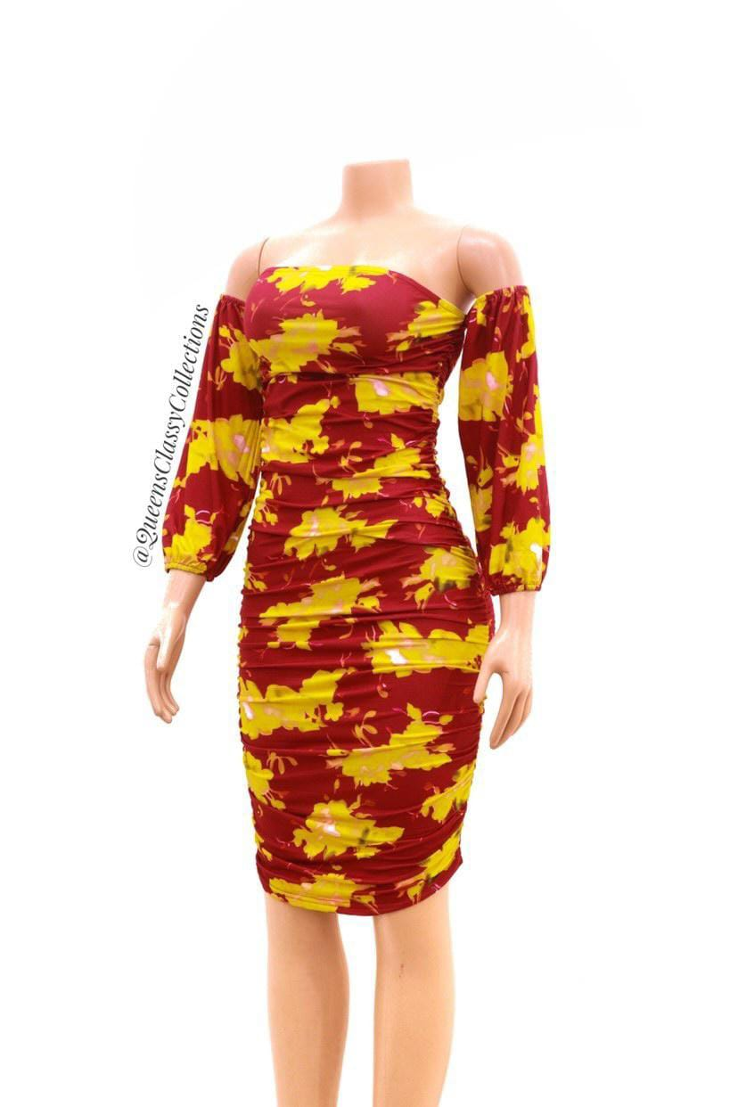 Offshoulder cut arms bodycon