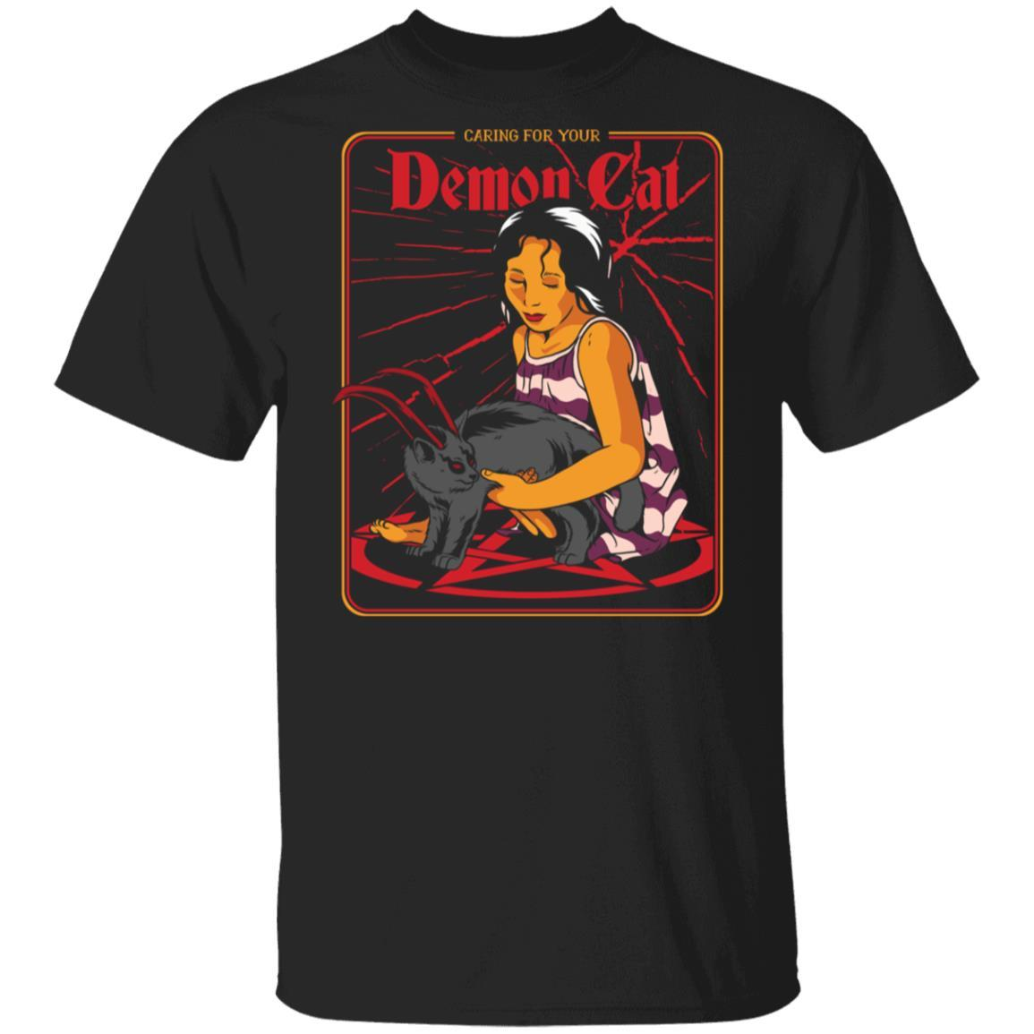 Caring For Your Demon Cat Halloween Costume for Cats Owners shirt t shirt