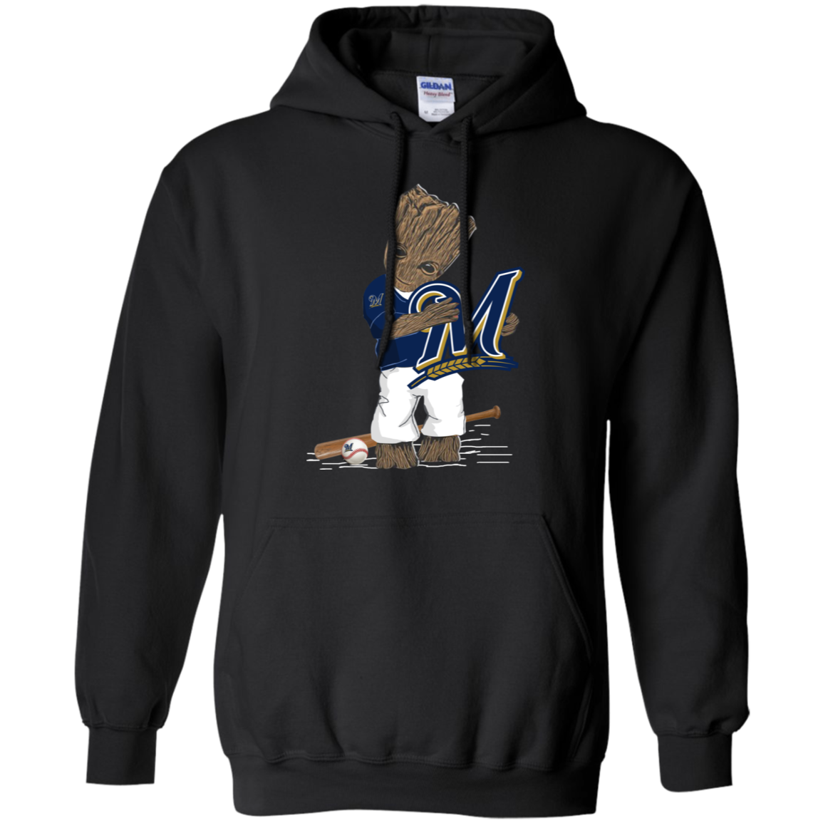 Baby Groot hugs Milwaukee Brewers shirt Hoodie