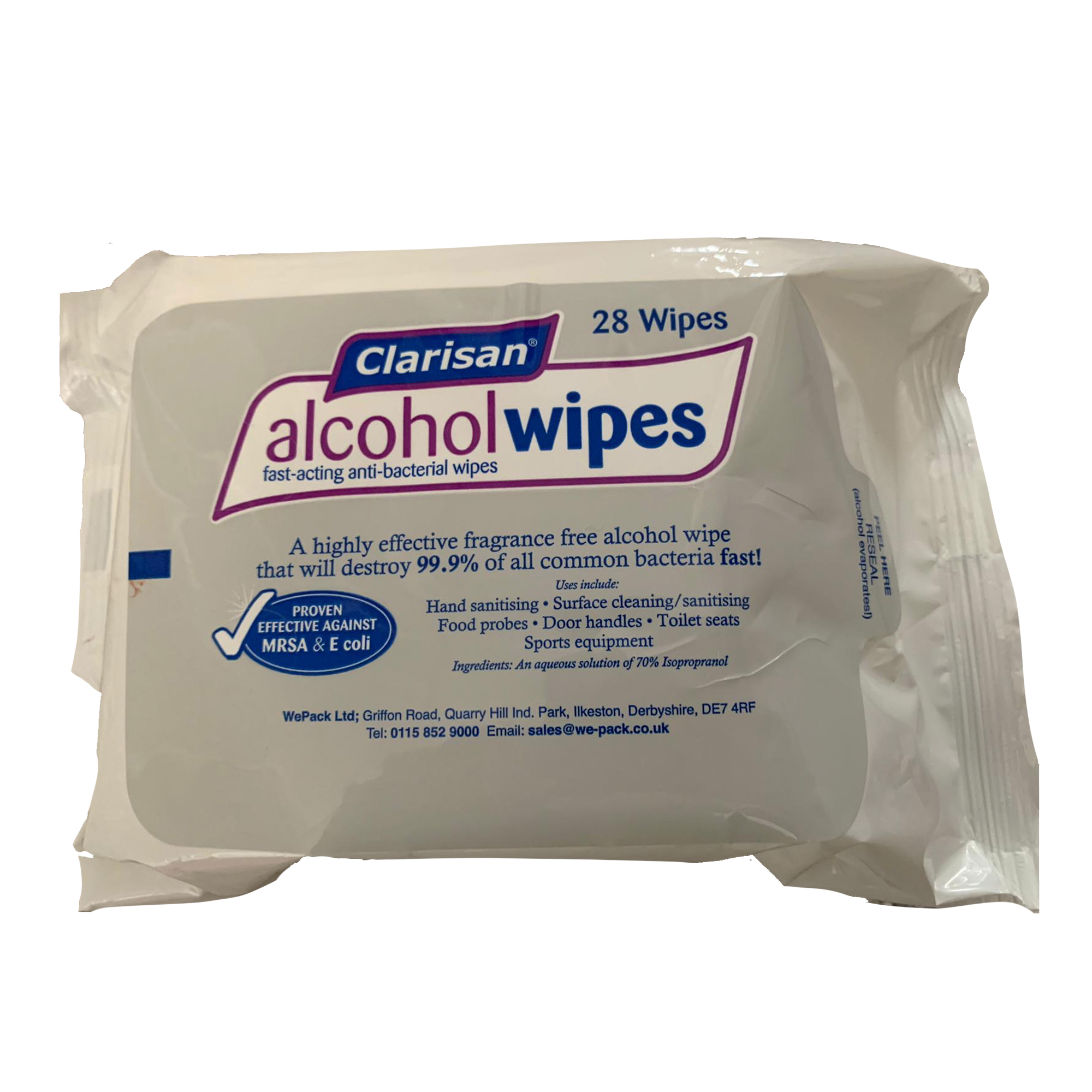 Clarisan Alcohol Wipes 28 Wipes (70% Isopropyl Alcohol) - PPE