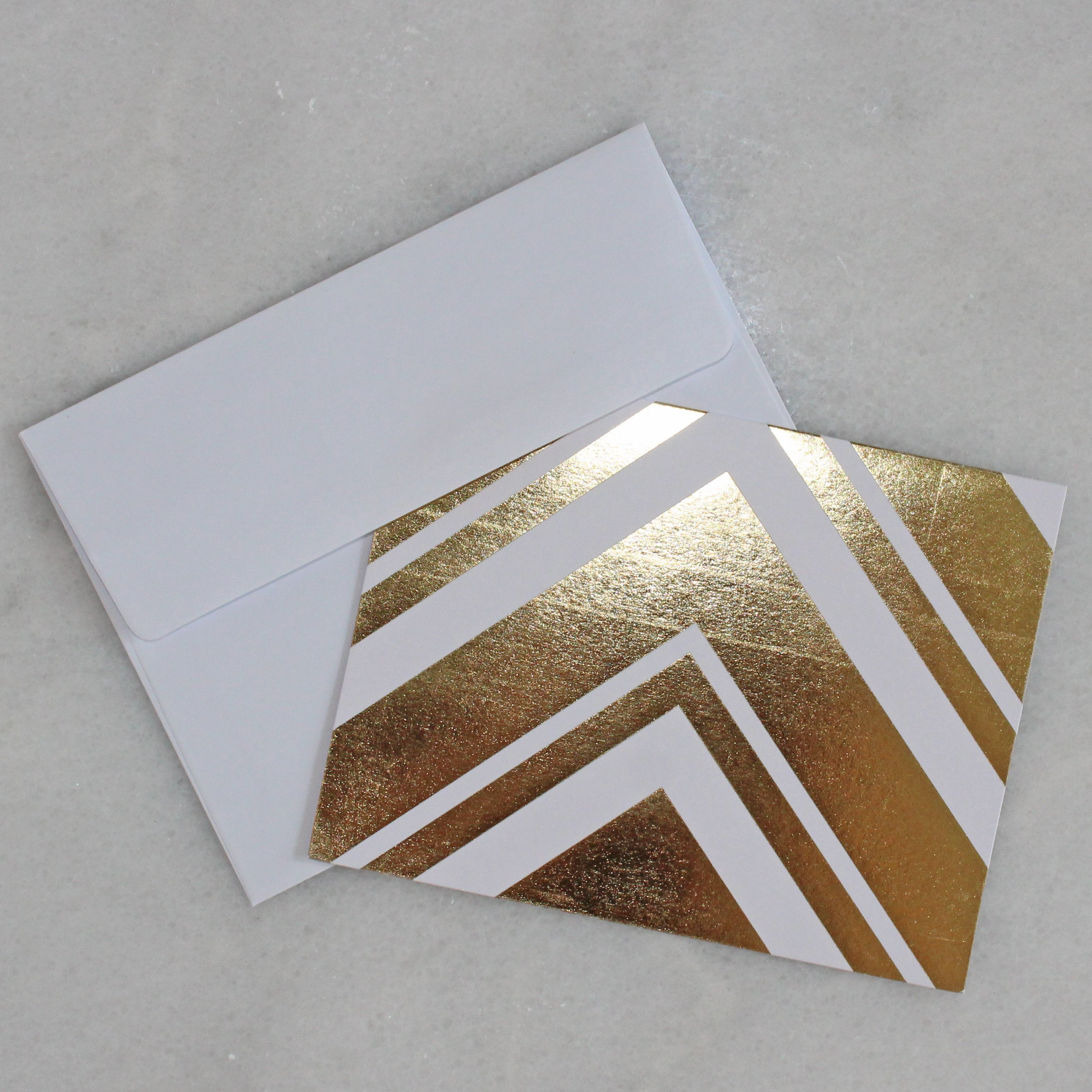 Card - gold & white - stripes