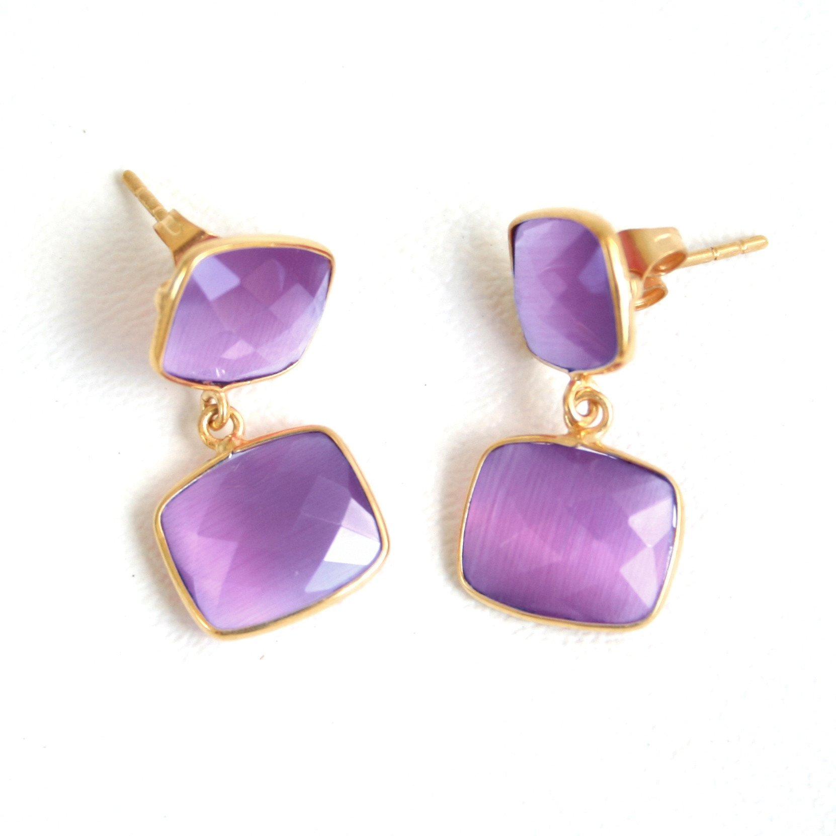 Whitten Drops Earrings Posts - Amethyst