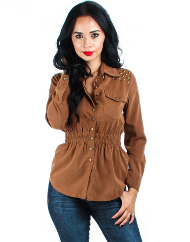 BROWN RAYON BUTTON-UP STUDDED BLOUSE WITH GATHERED WAISTLINE